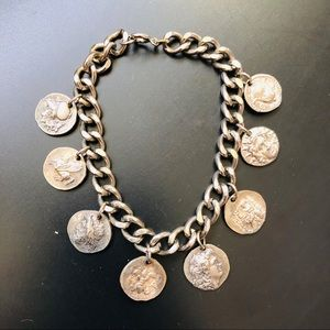 Vintage Silver Tone CHARM BRACELET French Coins